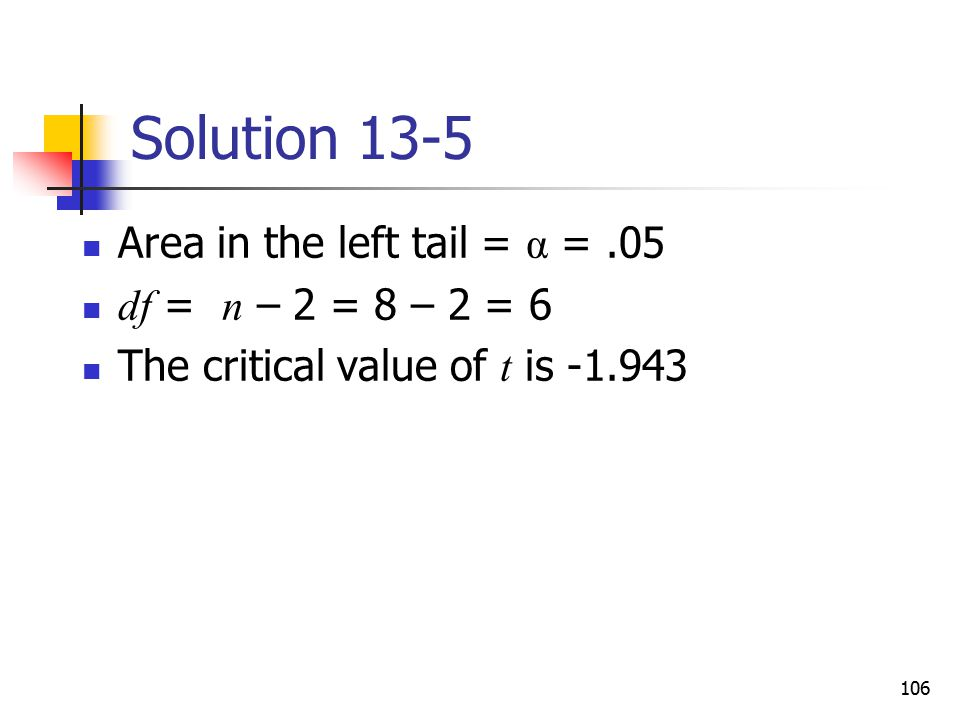 Solution 13-5 Area in the left tail = α = .05 df = n – 2 = 8 – 2 = 6