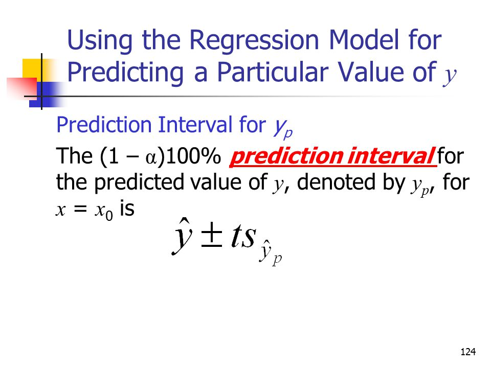 Using the Regression Model for Predicting a Particular Value of y