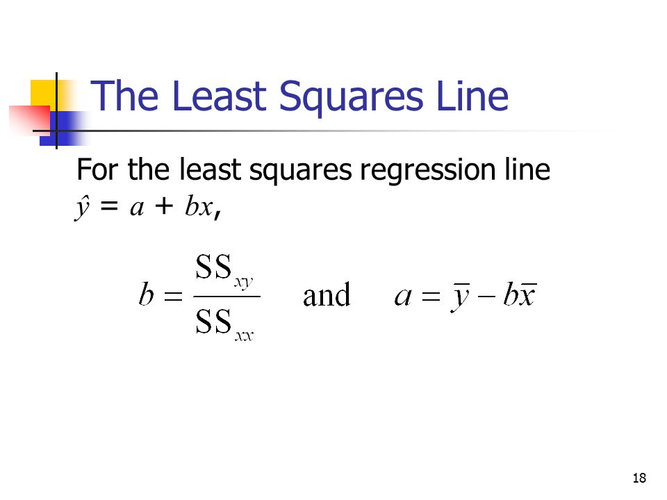 The Least Squares Line For the least squares regression line ŷ = a + bx,