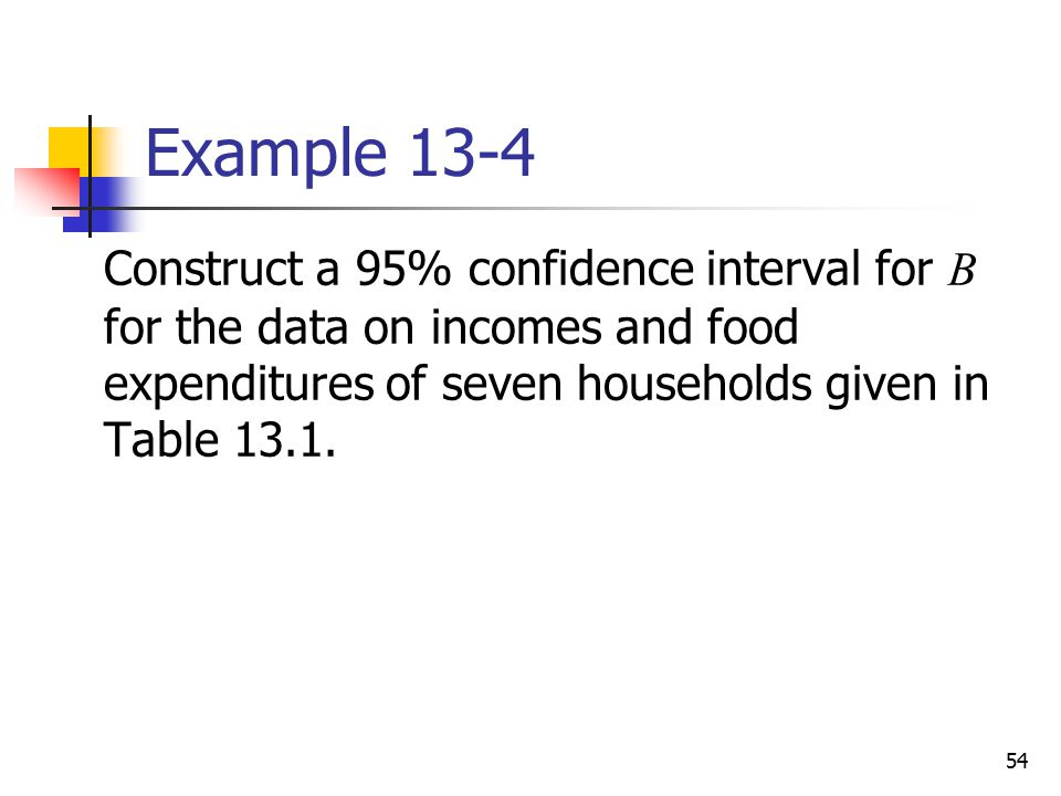 Example 13-4 Construct a 95% confidence interval for B for the data on incomes and food expenditures of seven households given in Table