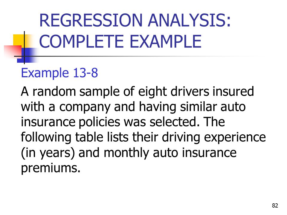 REGRESSION ANALYSIS: COMPLETE EXAMPLE