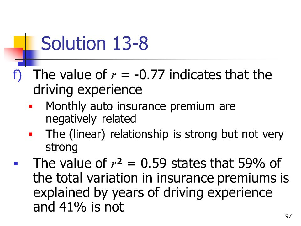 Solution 13-8 The value of r = indicates that the driving experience. Monthly auto insurance premium are negatively related.