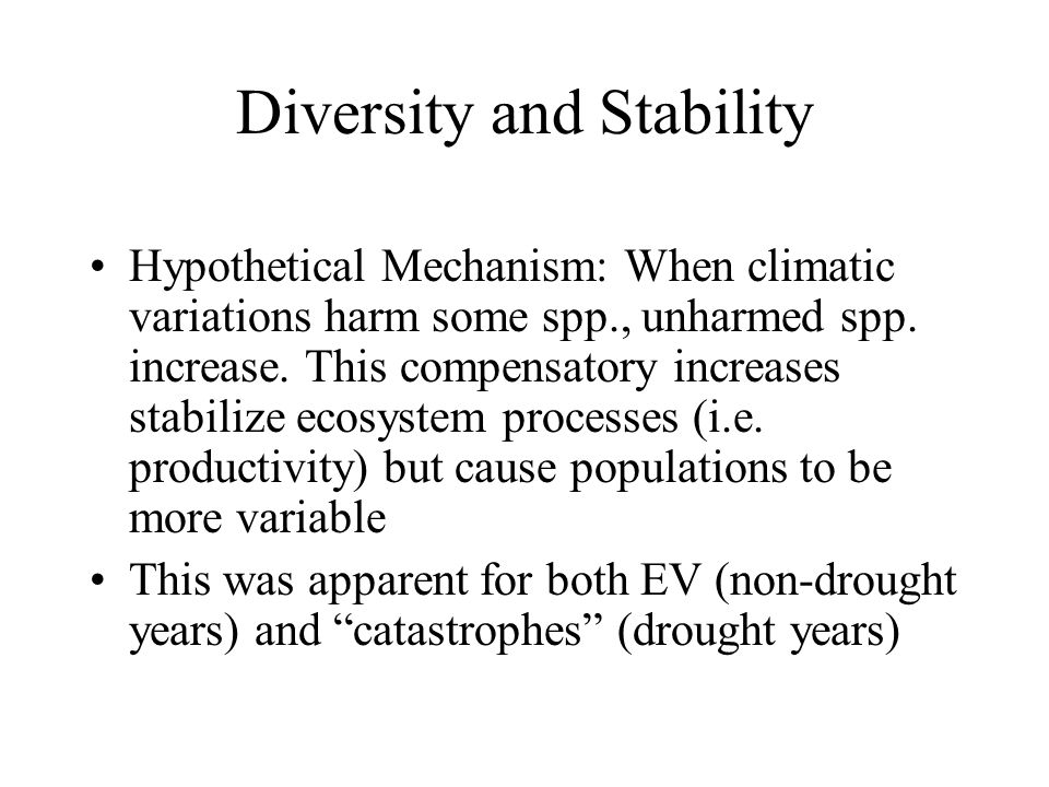 Stability and Diversity in Ecosystems