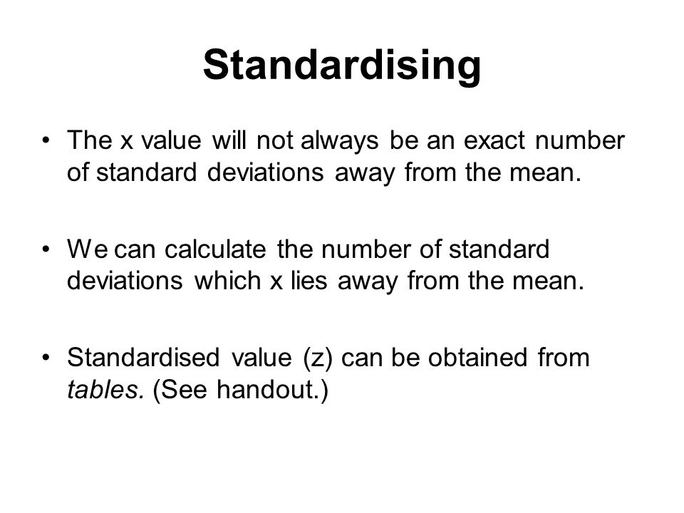 Probability distributions ppt video online download standardising the x value will not always be an exact number of standard deviations away from ccuart Image collections