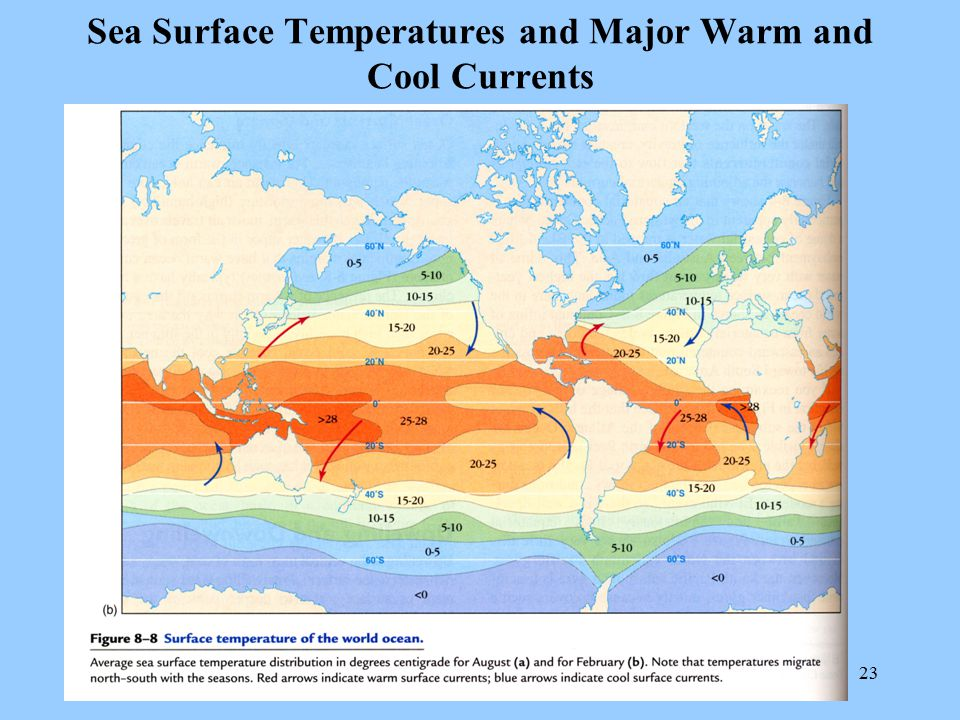 Sea Surface Temperatures and Major Warm and Cool Currents