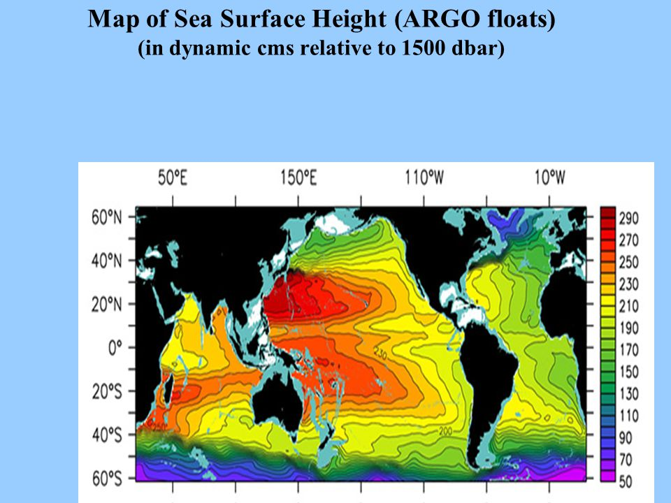 Map of Sea Surface Height (ARGO floats) (in dynamic cms relative to 1500 dbar)
