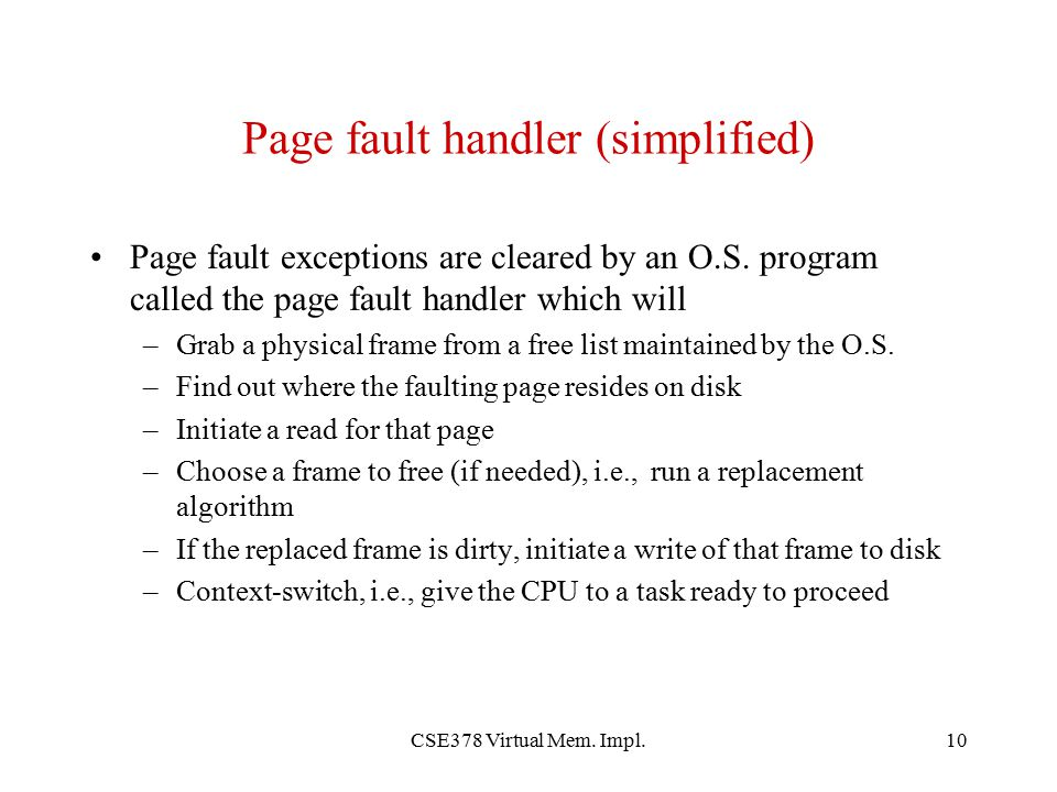 Page fault handler (simplified)