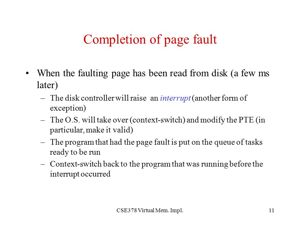 Completion of page fault