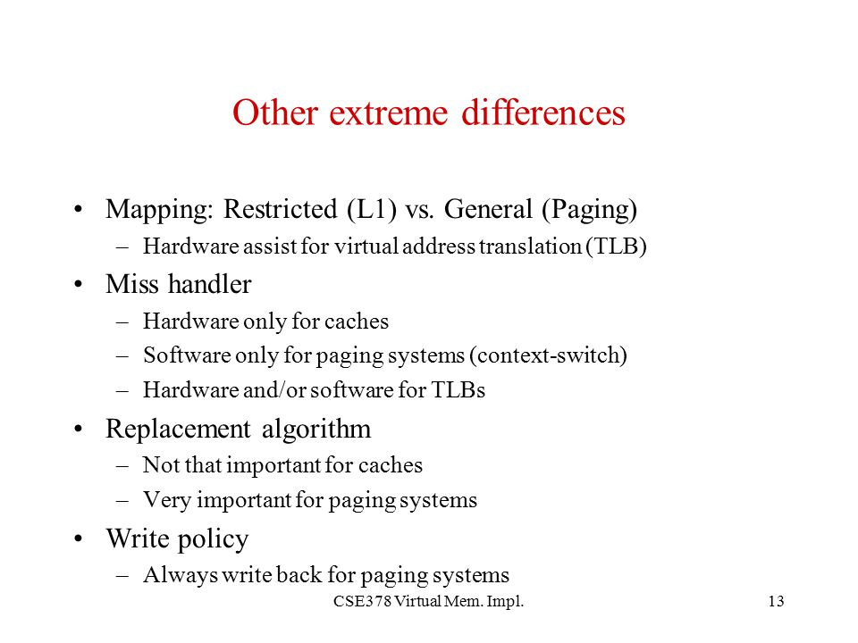 Other extreme differences