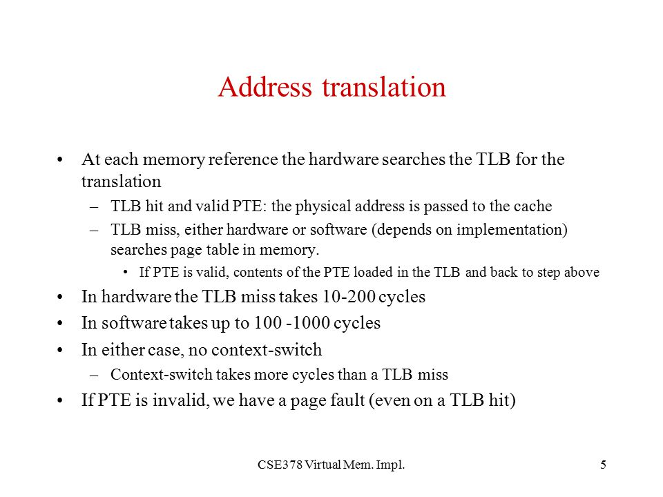 Address translation At each memory reference the hardware searches the TLB for the translation.