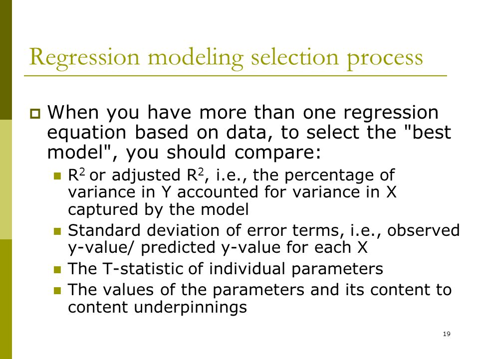Regression modeling selection process