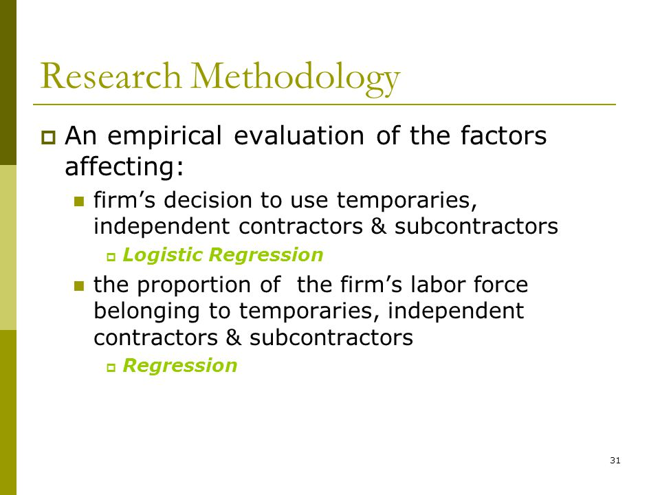 Research Methodology An empirical evaluation of the factors affecting: