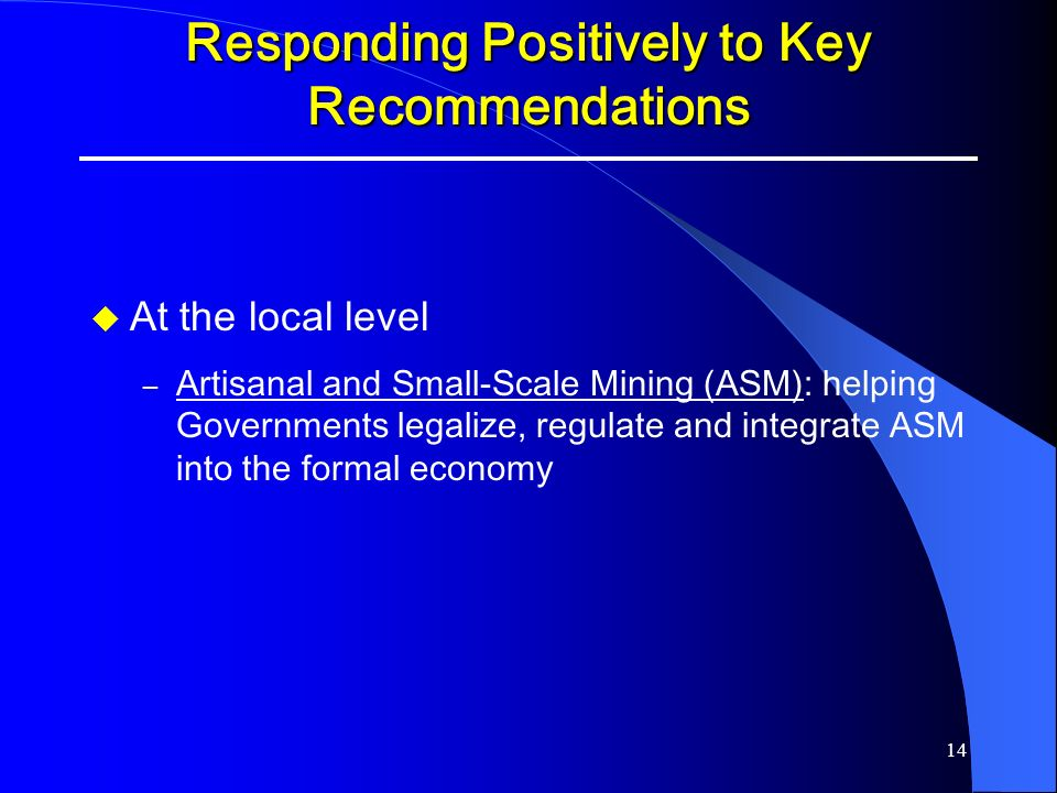 Responding Positively to Key Recommendations
