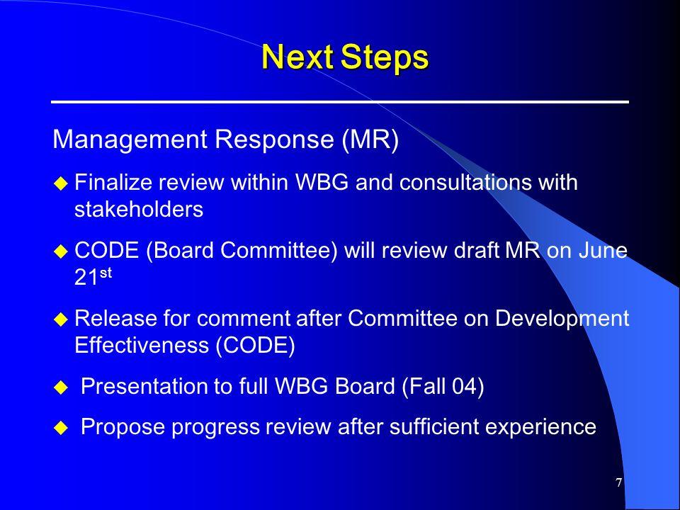 Next Steps Management Response (MR)