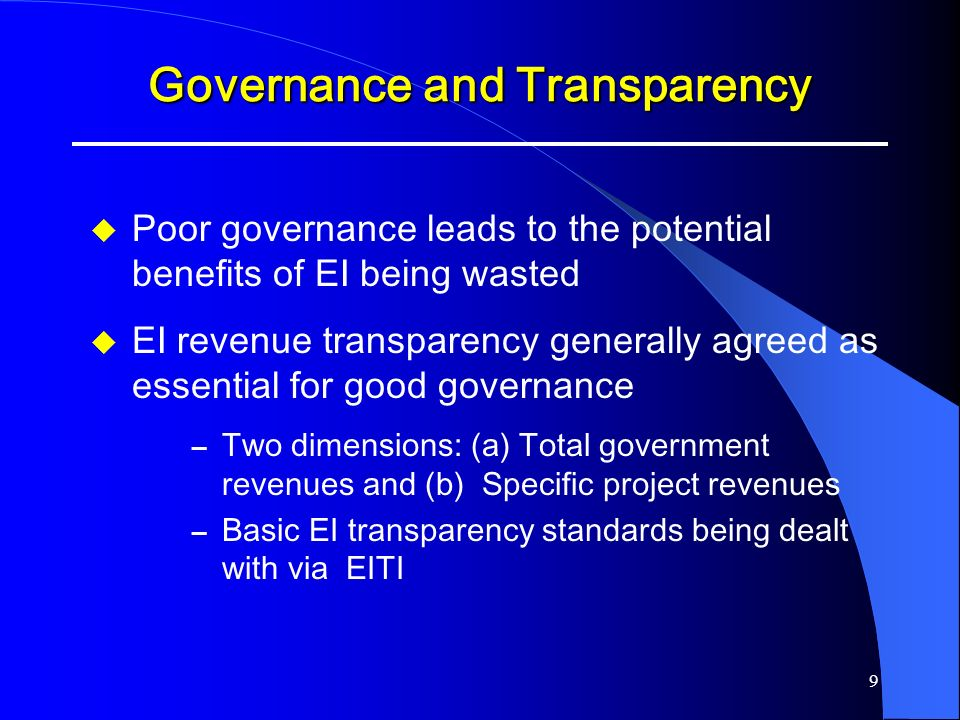 Governance and Transparency