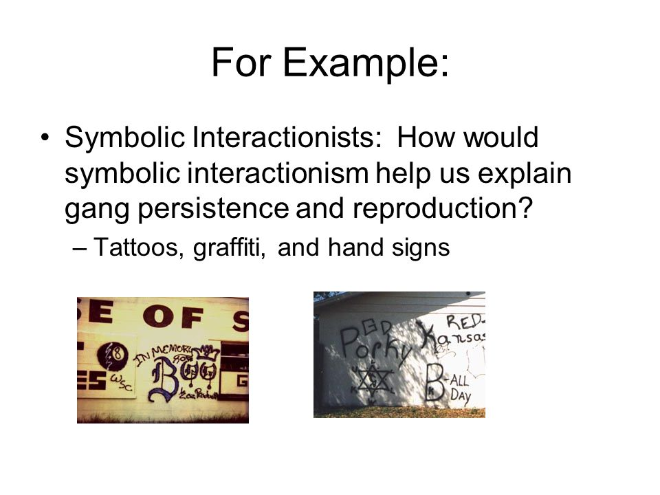 For Example: Symbolic Interactionists: How would symbolic interactionism help us explain gang persistence and reproduction