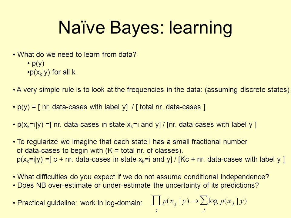 Naïve Bayes: learning What do we need to learn from data p(y)