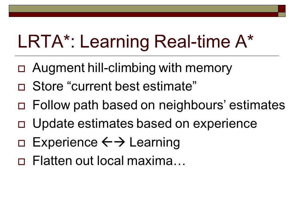 LRTA*: Learning Real-time A*