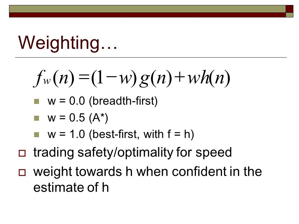 ) ( 1 n wh g w f + - = Weighting… trading safety/optimality for speed