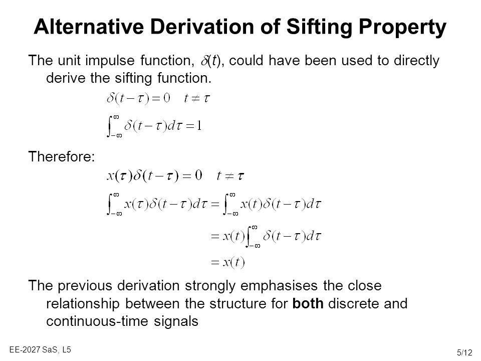 Alternative Derivation of Sifting Property