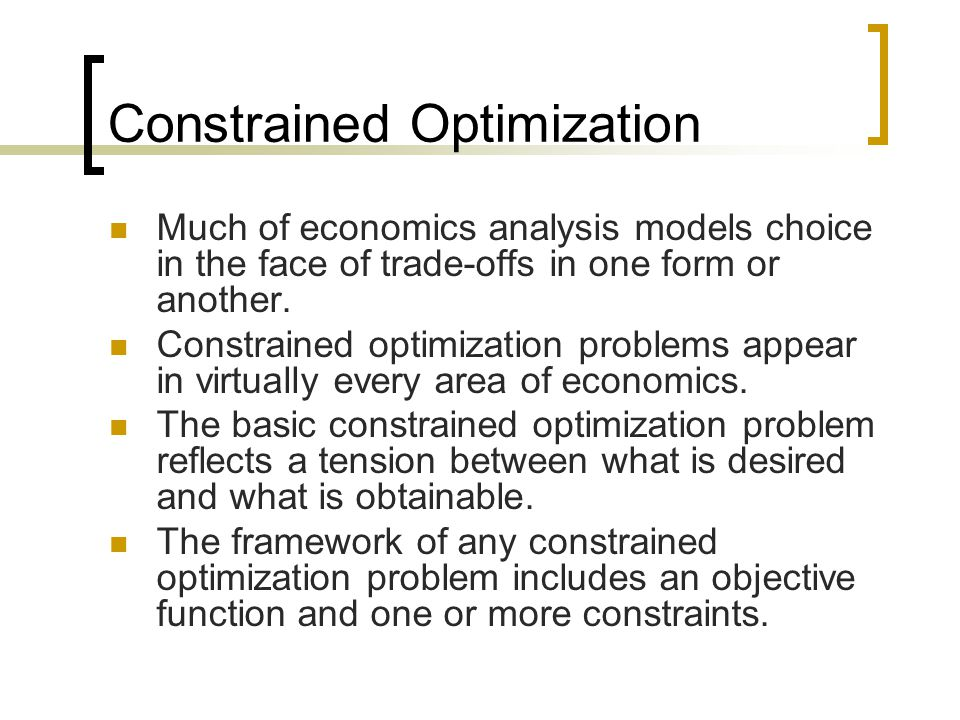 optimization and objective function The goal or function that is to be optimized in a model most often it is a cost  function that should be minimized subject to some restrictions or a profit function  that.