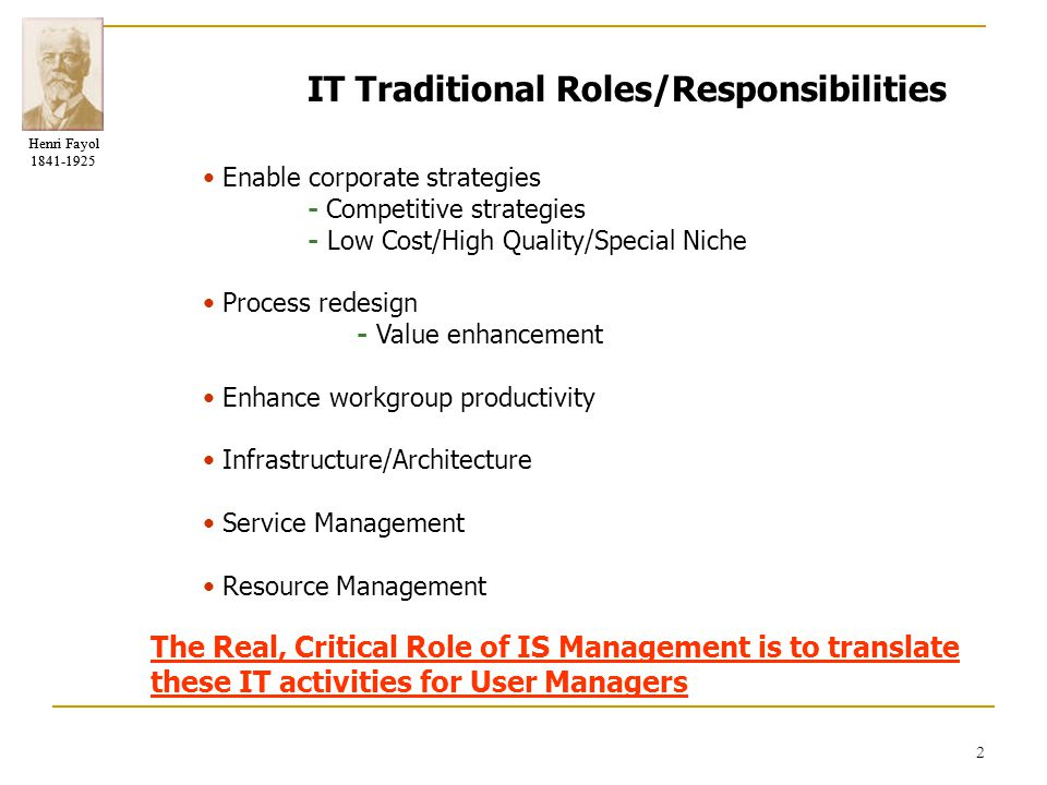 IT Traditional Roles/Responsibilities
