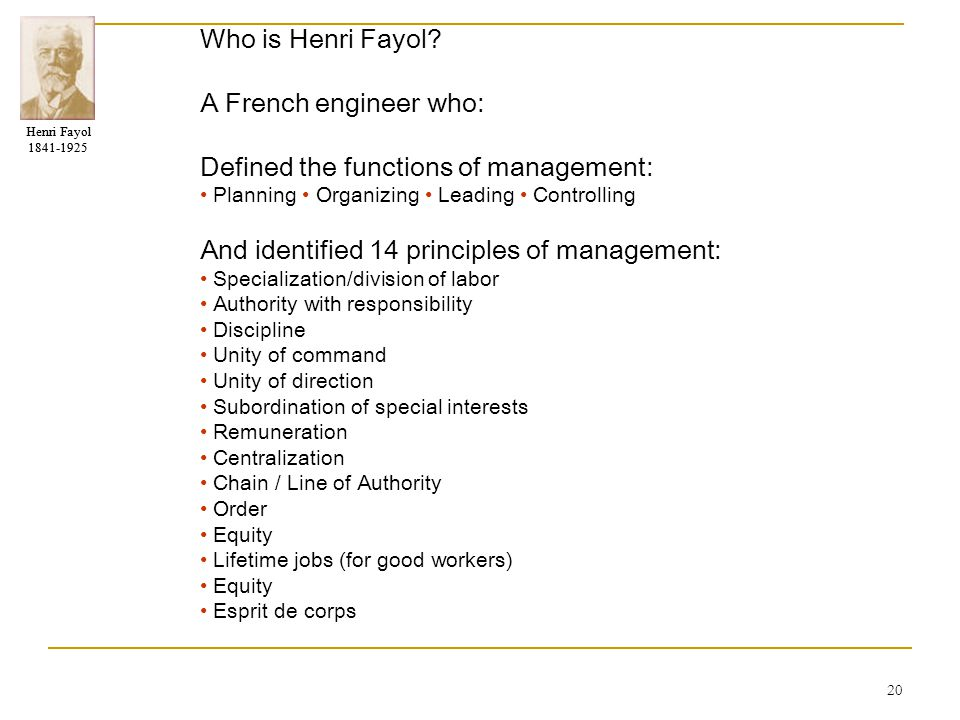 Defined the functions of management: