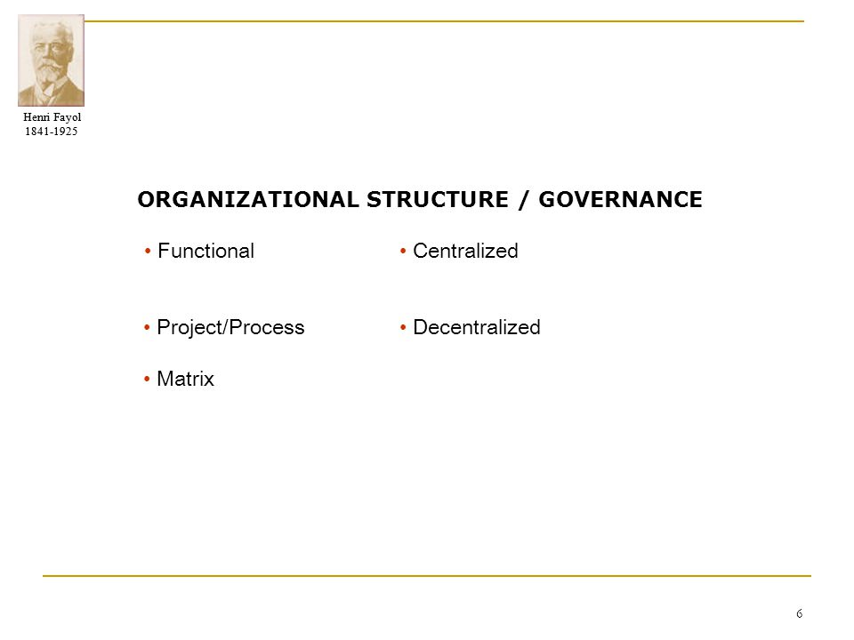 ORGANIZATIONAL STRUCTURE / GOVERNANCE