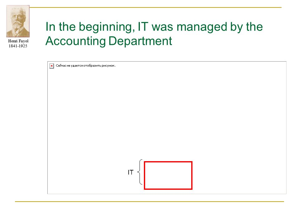 In the beginning, IT was managed by the Accounting Department