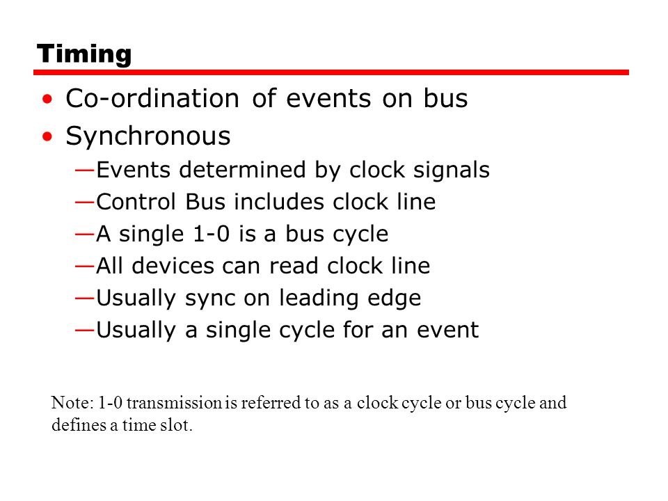 Co-ordination of events on bus Synchronous