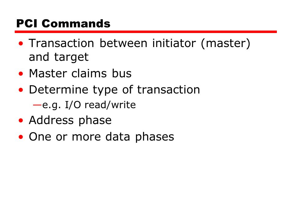 Transaction between initiator (master) and target Master claims bus