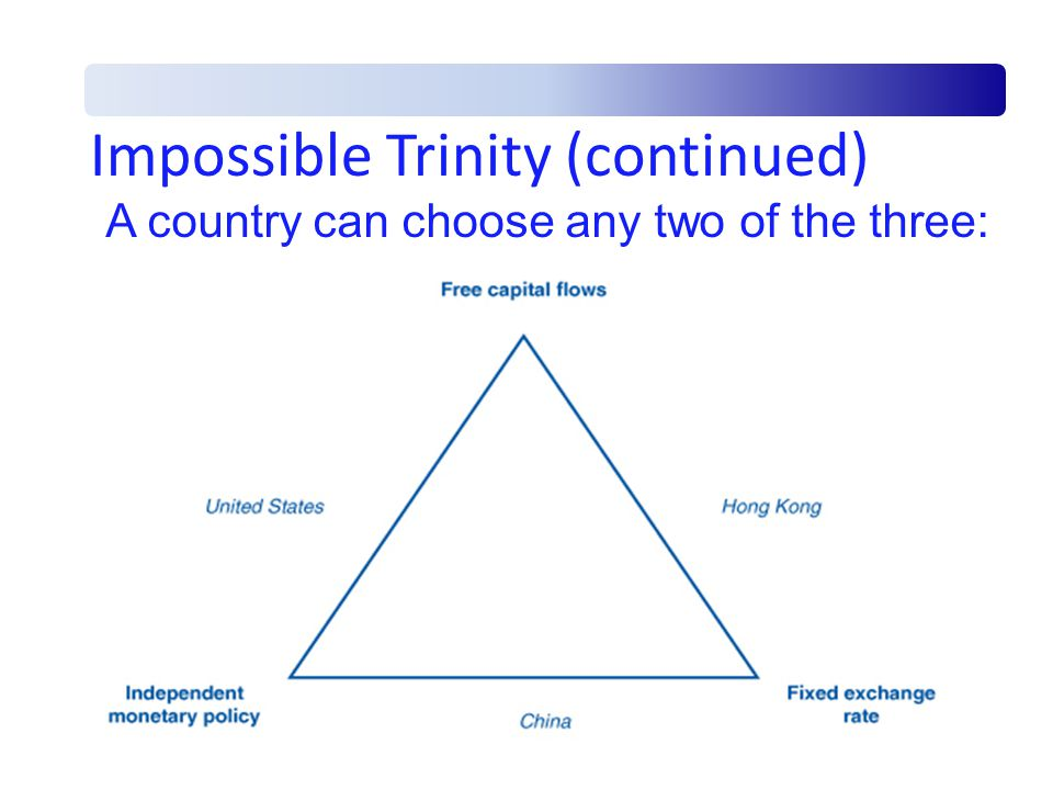 the impossible trinity The impossible trinity theorises that countries cannot simultaneously control monetary policy and the exchange rate while letting capital flow freely in practice, this gives china's authorities very little choice.