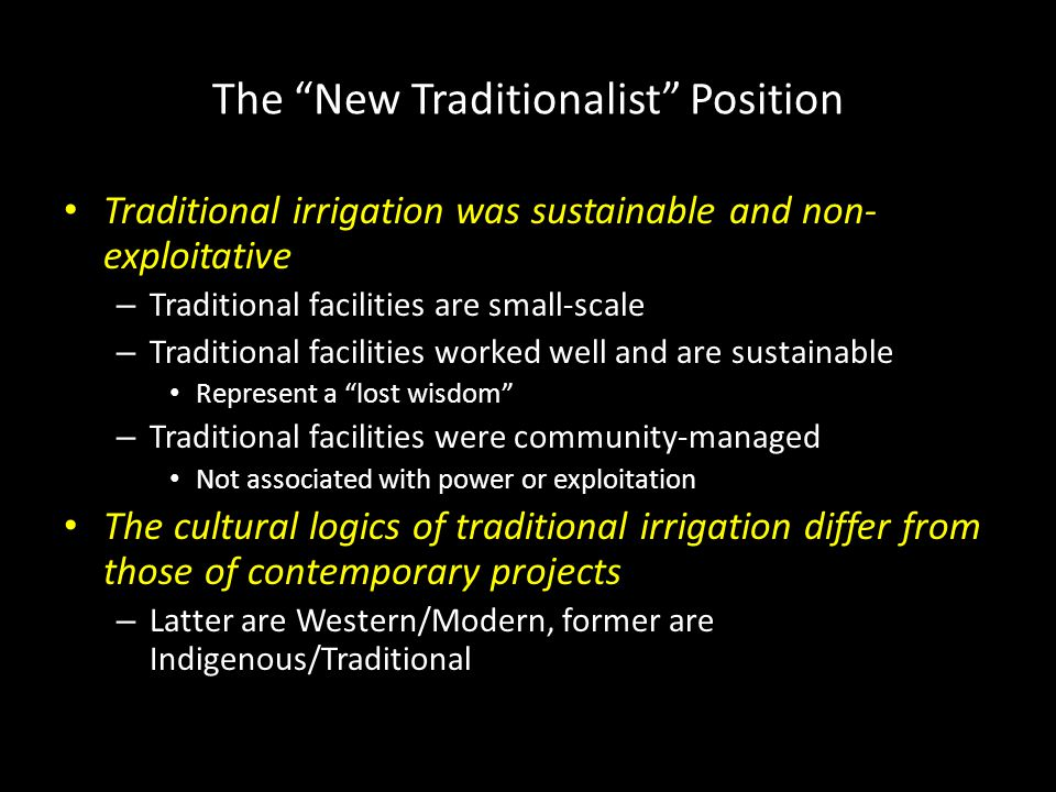 The New Traditionalist Position