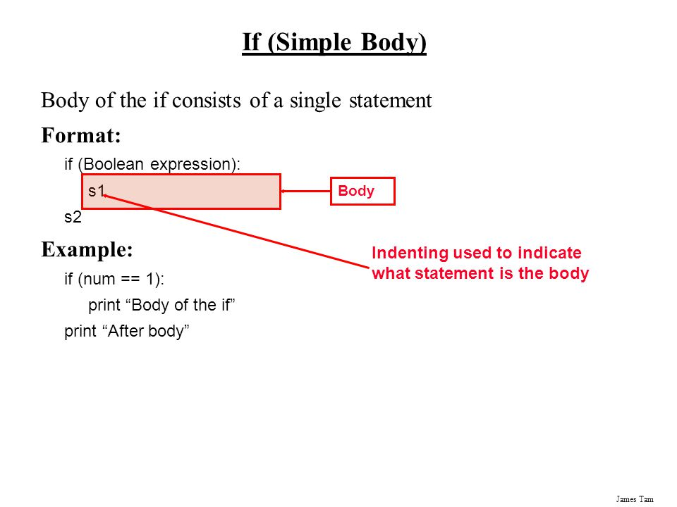 If (Simple Body) Body of the if consists of a single statement Format: