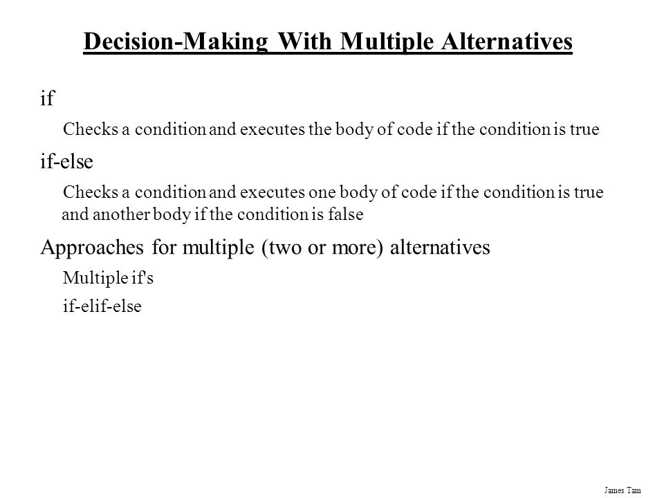 Decision-Making With Multiple Alternatives