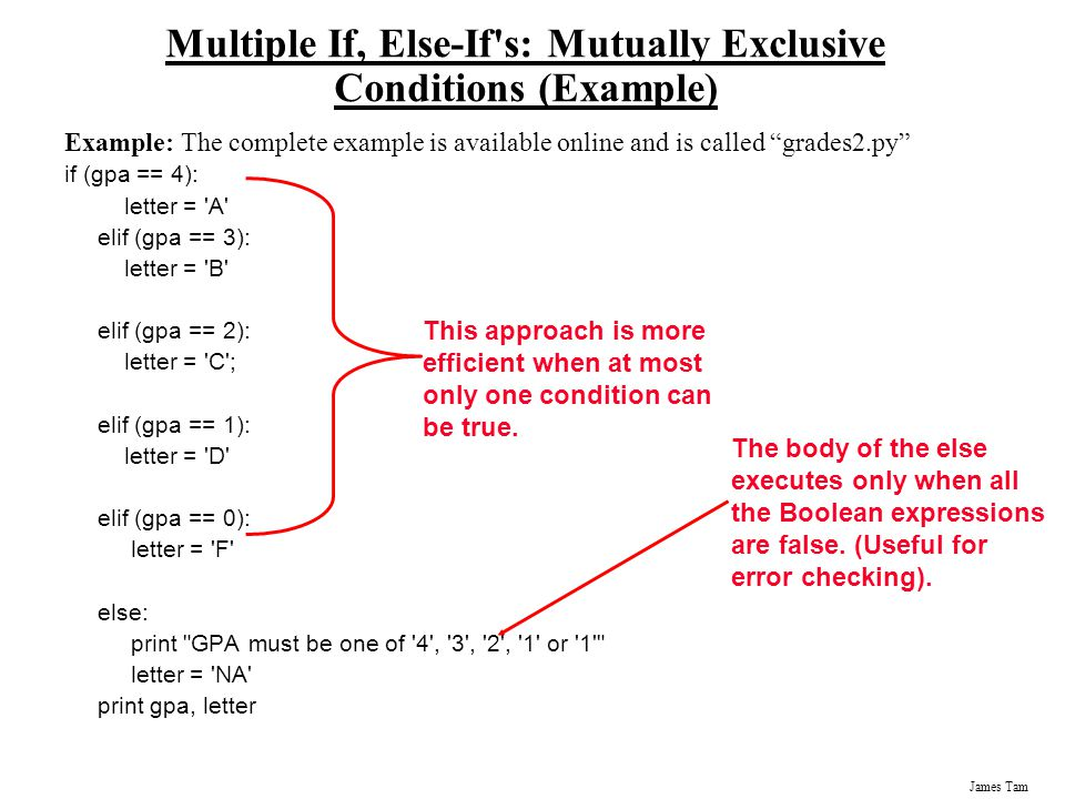 Multiple If, Else-If s: Mutually Exclusive Conditions (Example)