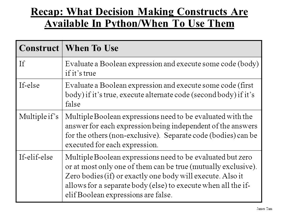 Recap: What Decision Making Constructs Are Available In Python/When To Use Them
