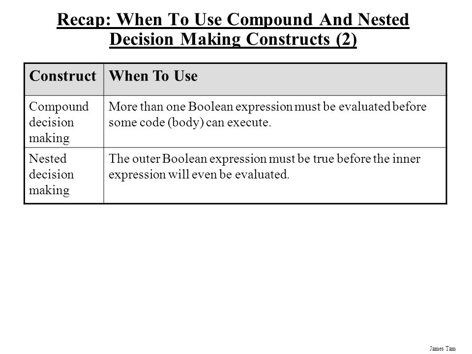 Recap: When To Use Compound And Nested Decision Making Constructs (2)
