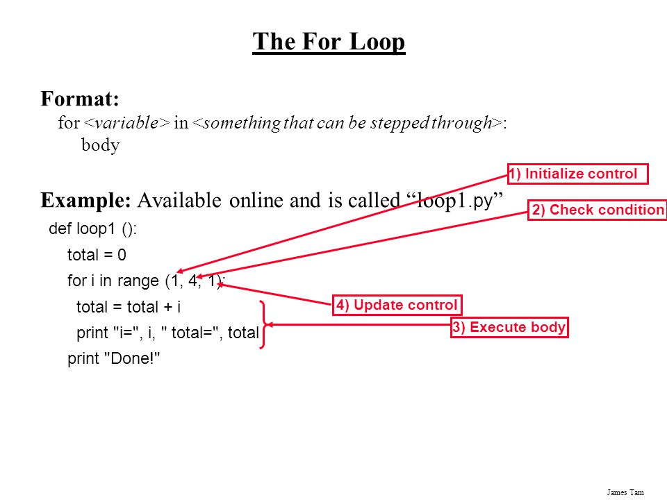 The For Loop Format: for <variable> in <something that can be stepped through>: body. Example: Available online and is called loop1.py