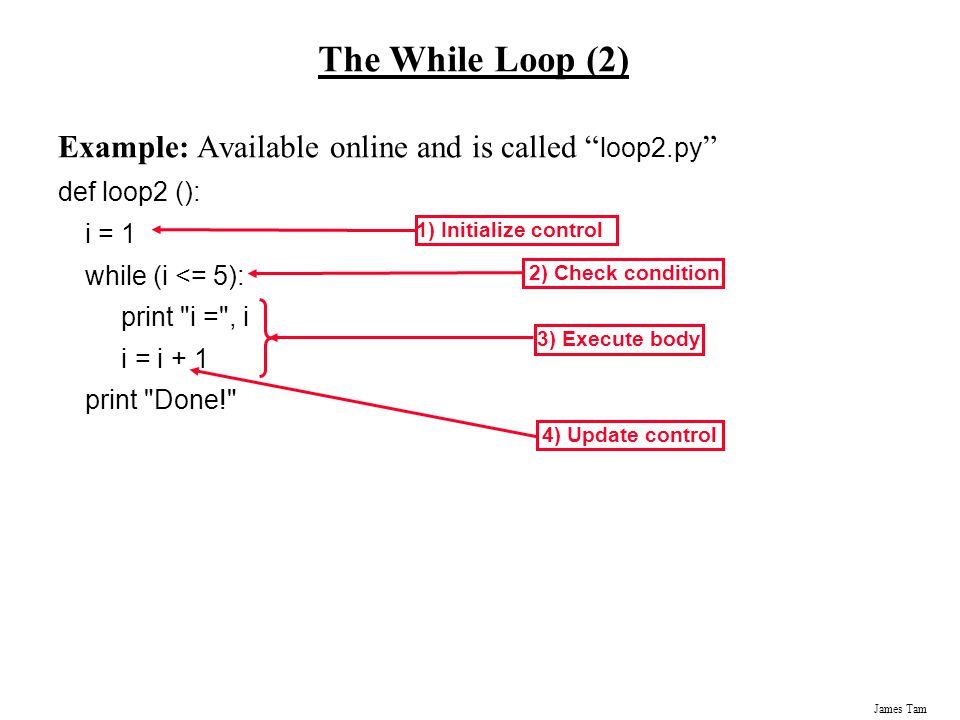 The While Loop (2) Example: Available online and is called loop2.py