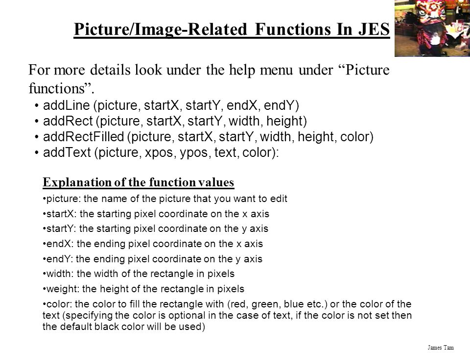 Picture/Image-Related Functions In JES