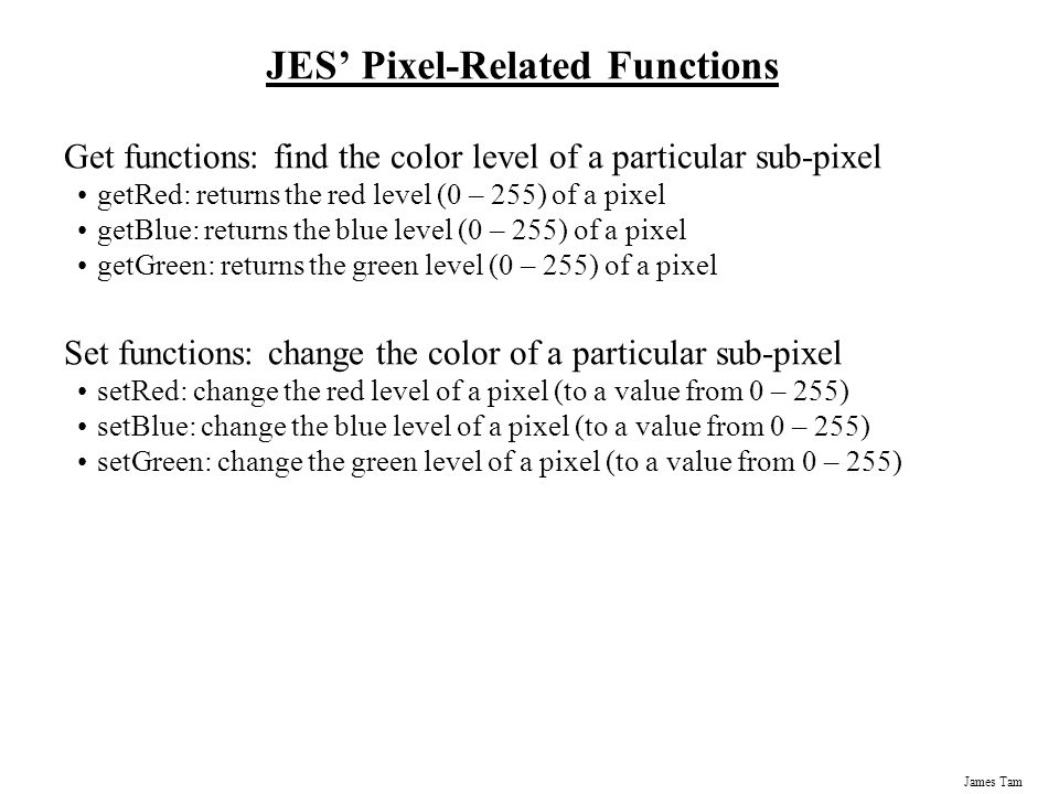 JES' Pixel-Related Functions