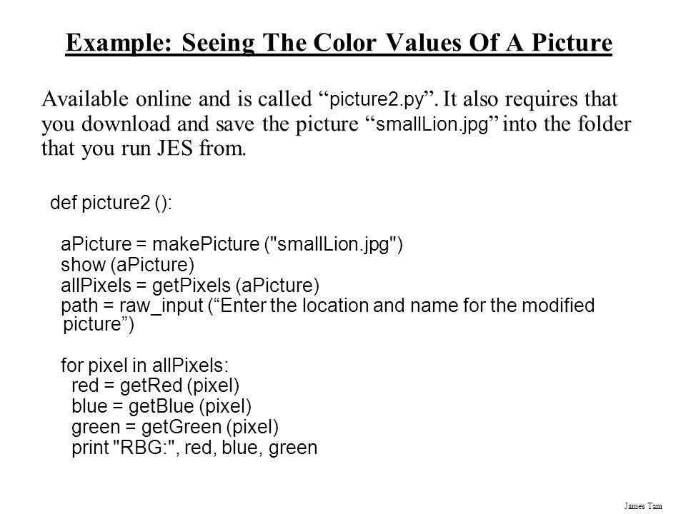 Example: Seeing The Color Values Of A Picture