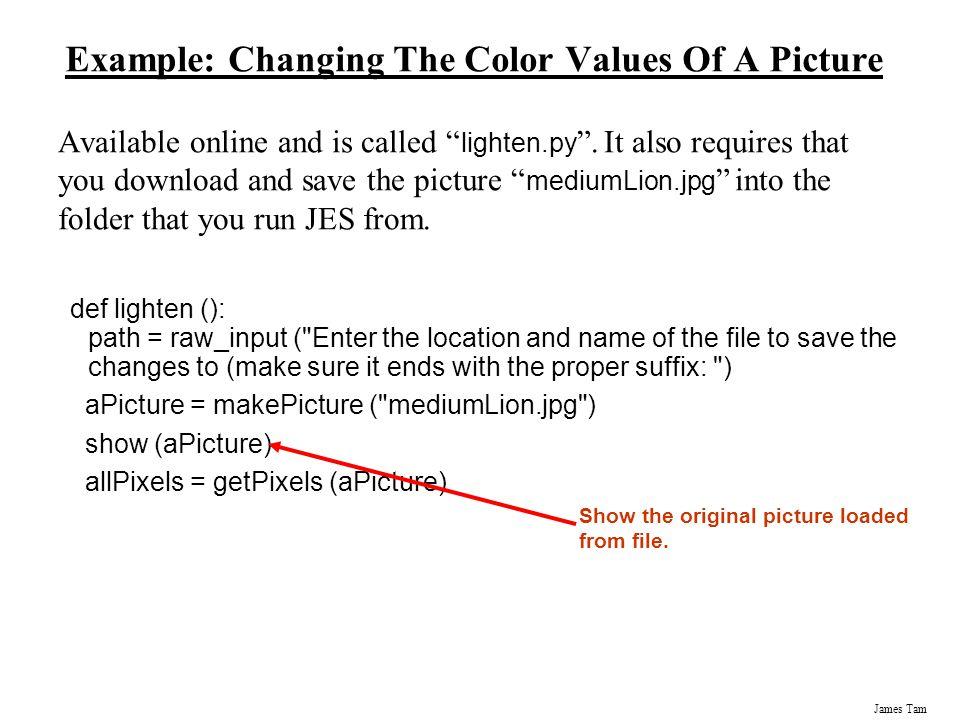 Example: Changing The Color Values Of A Picture
