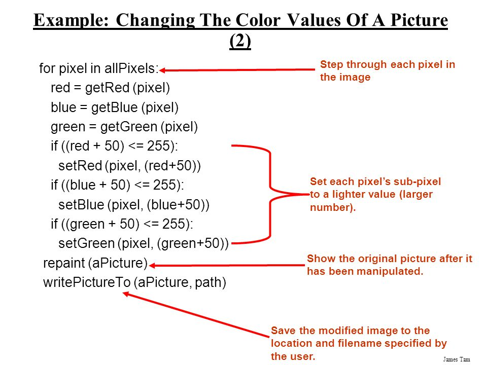 Example: Changing The Color Values Of A Picture (2)