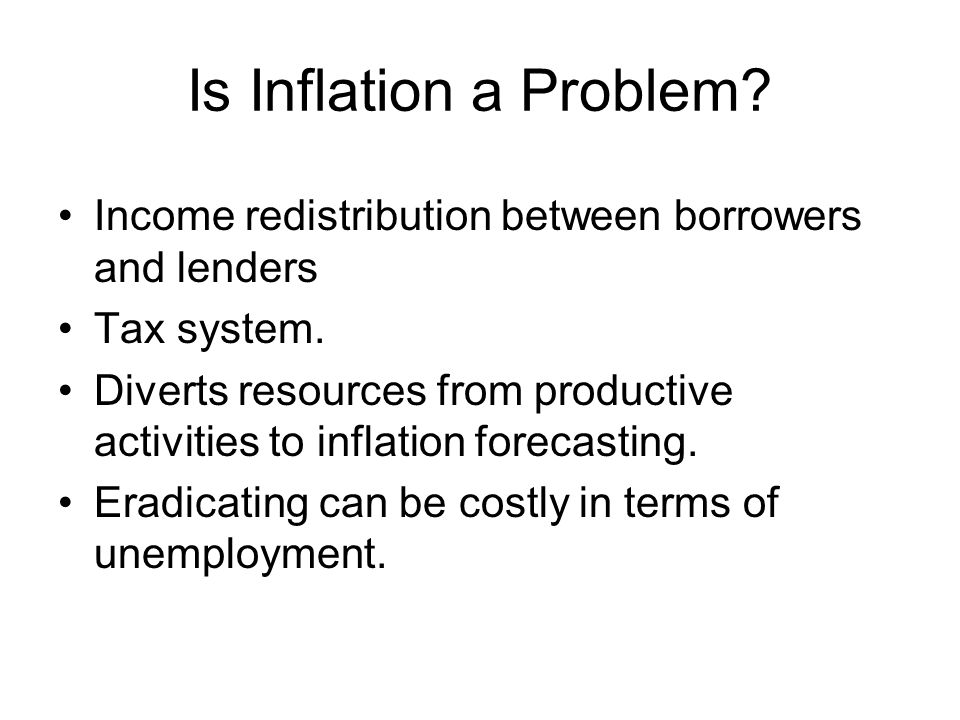 Is Inflation a Problem Income redistribution between borrowers and lenders. Tax system.