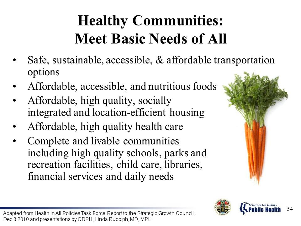 Healthy Communities: Meet Basic Needs of All