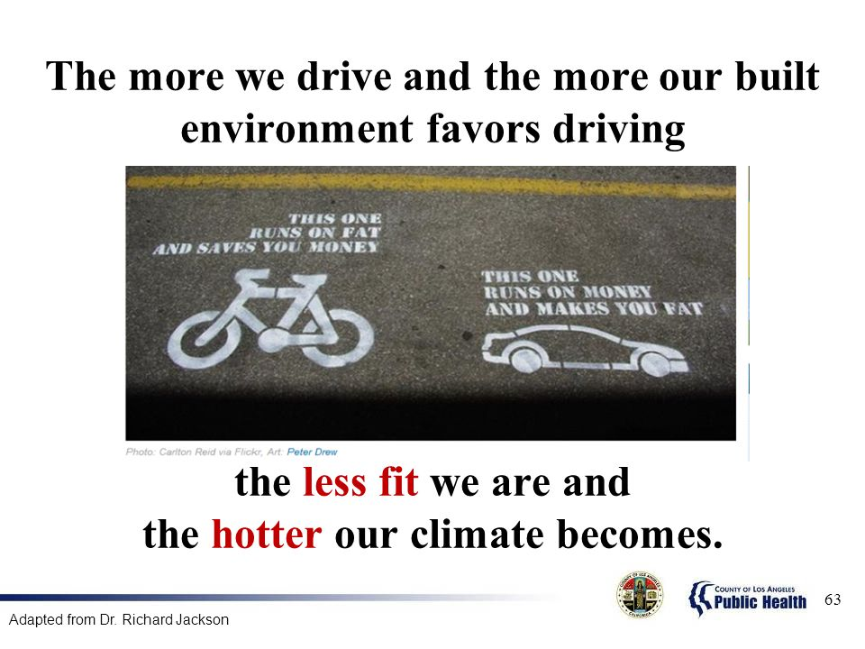 The more we drive and the more our built environment favors driving the less fit we are and the hotter our climate becomes.