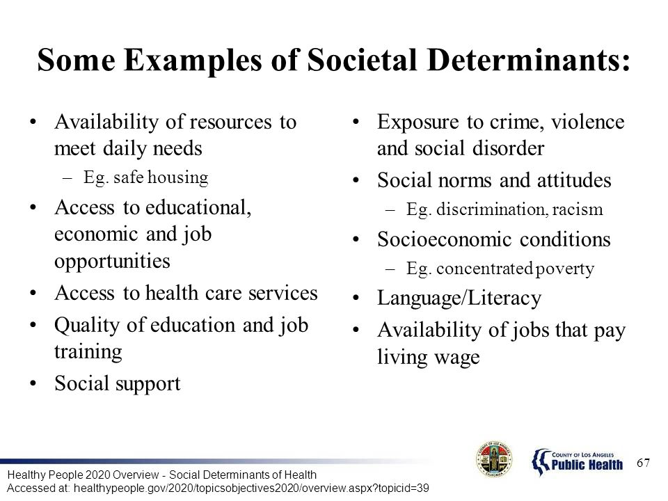 Some Examples of Societal Determinants: