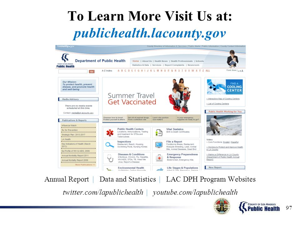 To Learn More Visit Us at: publichealth.lacounty.gov